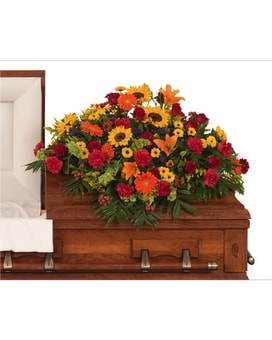 Tuscan Casket Spray Flower Arrangement