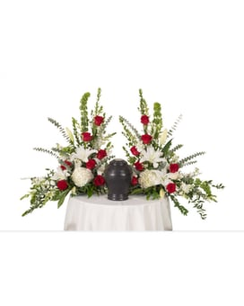 Red & White Urn Arrangement Flower Arrangement