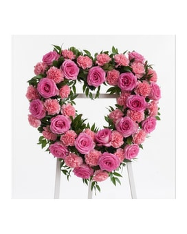 Roses & Carnations Heart Flower Arrangement