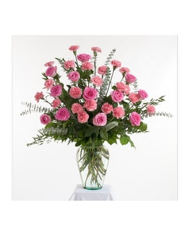 Roses & Carnations Vase Arrangement Flower Arrangement