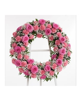 Roses & Carnations Wreath Flower Arrangement