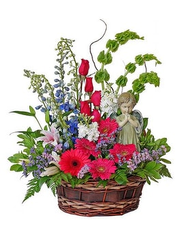 Serene Angel Flower Basket Flower Arrangement