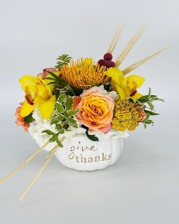 Give Thanks Pumpkin Flower Arrangement