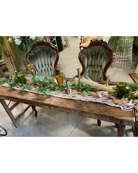 Wooden Tables Wedding Arrangement