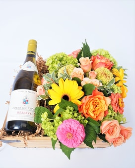 Wine and Flowers Gift Basket