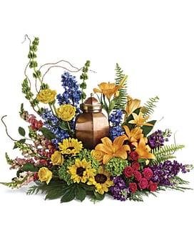 Gardeners Love Urn Tribute Sympathy Arrangement