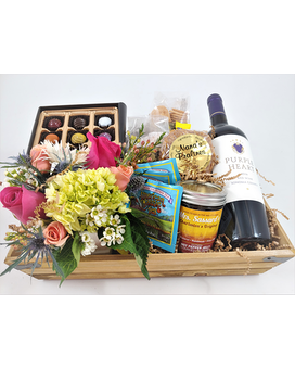 Charleston's Ultimate Gift Basket with Wine Flower Arrangement