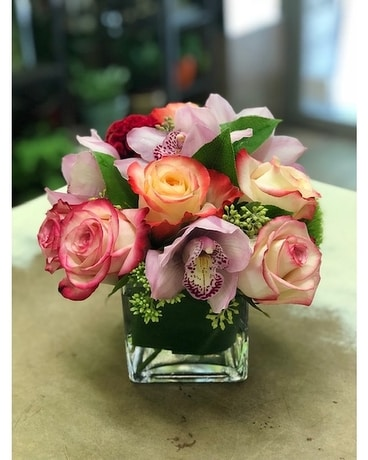 Blushing Roses Flower Arrangement