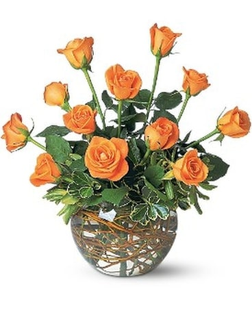 A Dozen Orange Roses Flower Arrangement