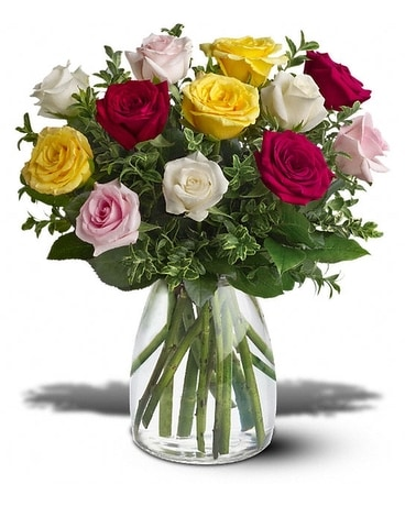 Dozen Mixed Roses Flower Arrangement