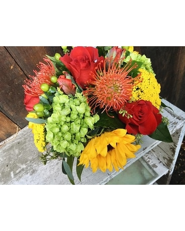Guilford florist flower delivery by guilford white house florist crimson gold flower arrangement mightylinksfo
