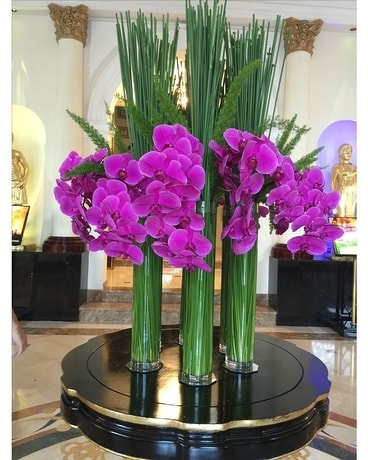 Purple Phaleanopsis Orchids Flower Arrangement