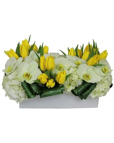 Yellow Tulips and orchids Flower Arrangement