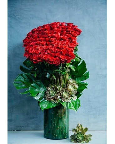 100 Red Rose Bouquet and Succulents Flower Arrangement