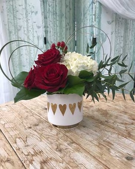 Golden Hearts Flower Arrangement