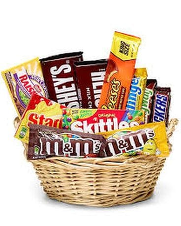 Candy Basket Flower Arrangement