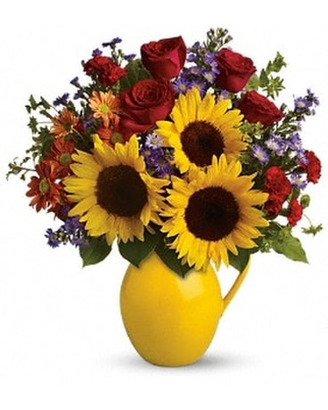 Teleflora's Sunny Day Pitcher of Joy Flower Arrangement
