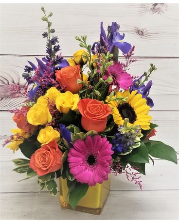 Vibrant Colors Cube Flower Arrangement