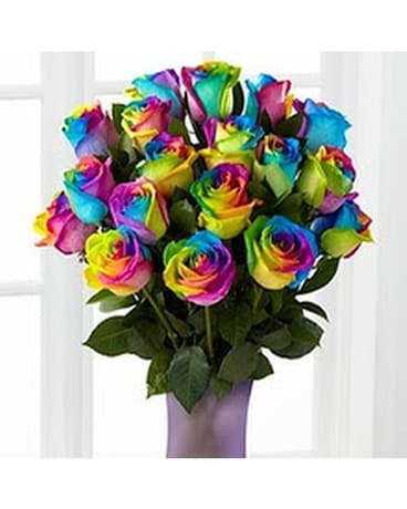 Rainbow Roses by Hoogasian Flowers Flower Arrangement