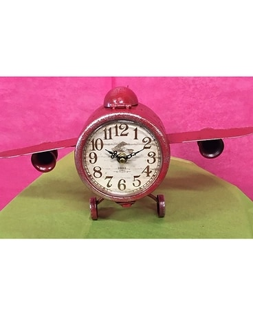 Airplane Clock Flower Arrangement