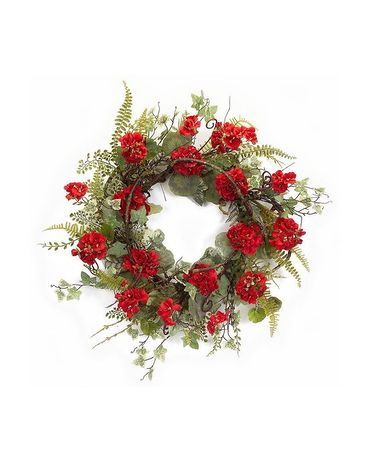 Silk Red Geranium Wreath Sympathy Arrangement