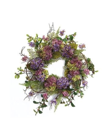 Silk Blue/Purple Hydrangea Wreath Sympathy Arrangement