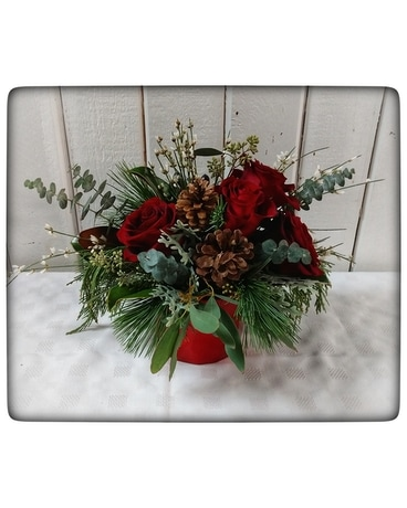 Rustic Christmas Flower Arrangement