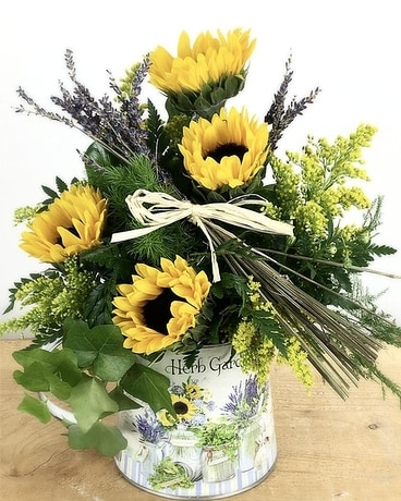 Sunny Herb Pitcher Flower Arrangement