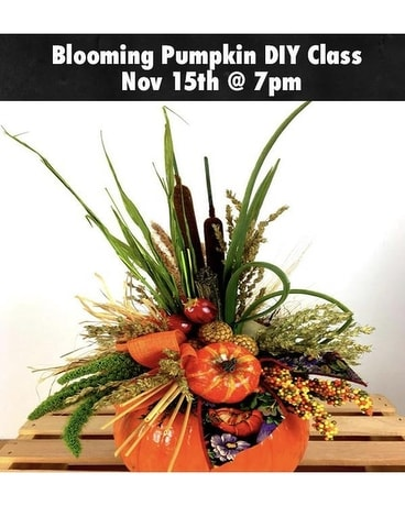 Register NOW! Blooming Pumpkin Flower Arrangement
