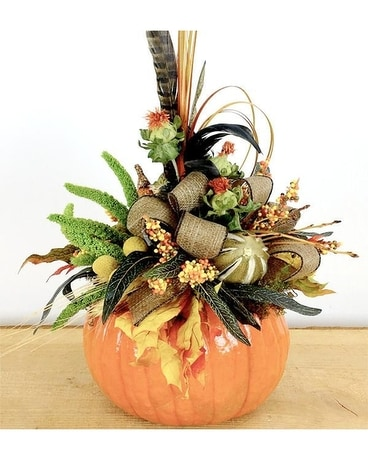Handcrafted Medium Pumpkin Flower Arrangement