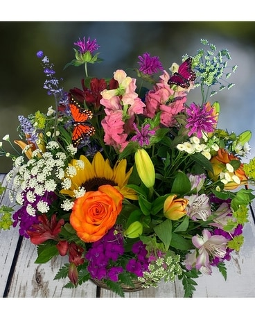 Wildflower Basket Flower Arrangement