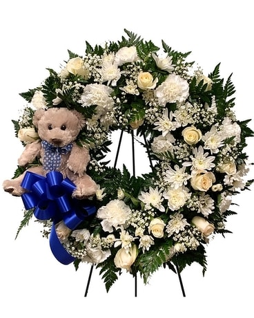 Teddy bear Wreath Funeral Arrangement