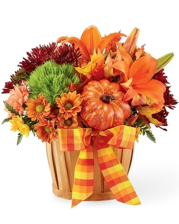 Autumn Celebration Basket Flower Arrangement