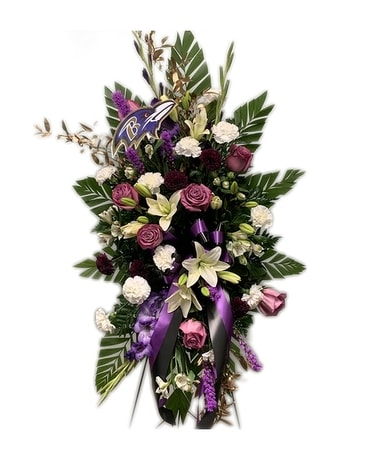 Ravens Standing Spray Funeral Arrangement