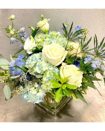 Crystal Blue Flower Arrangement