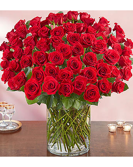 100 Long Stem Red Roses Flower Arrangement