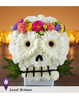 Spooky Skull with Crown Flower Arrangement