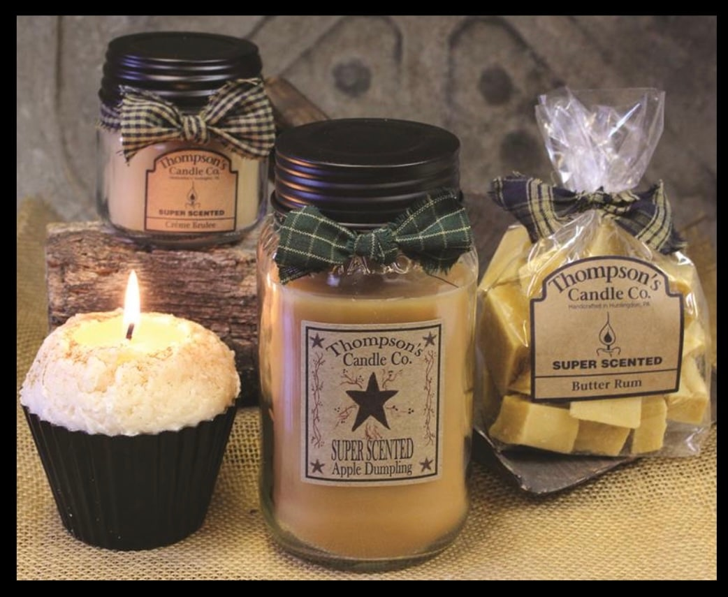 Thompson's super scented candles, various scents