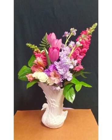 Swan Vase For Mothers Day Flower Arrangement