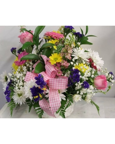 Spring Mix Basket Flower Arrangement
