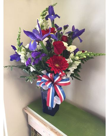 Patriotic Vase Flower Arrangement