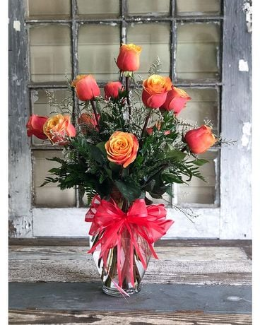 Cherry Brandy Roses Flower Arrangement