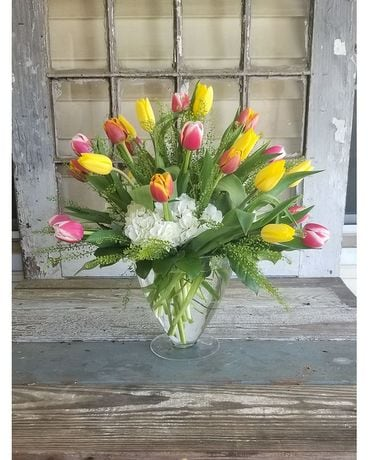 Tiptoe Through Tulips Flower Arrangement