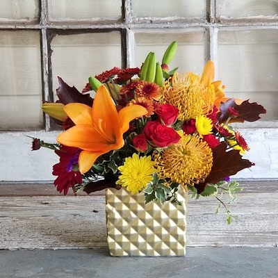 Fiery Sunset Flower Arrangement