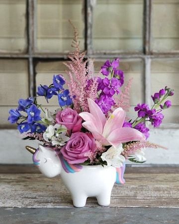 Enchanted Forest Unicorn Flower Arrangement