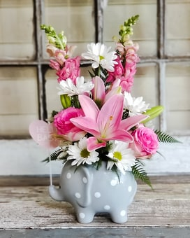 Welcome Baby Pink Bouquet Flower Arrangement