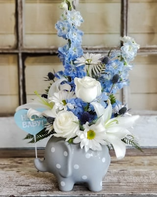 Welcome Baby Blue Bouquet Flower Arrangement