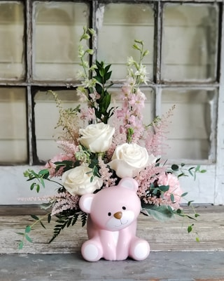 Bear-y Special Pink Bouquet Flower Arrangement