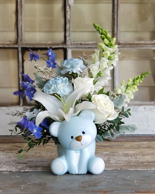 Bear-y Special Blue Bouquet Flower Arrangement