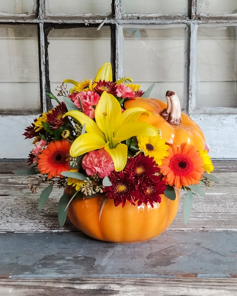 Autumn Grace Pumpkin Flower Arrangement